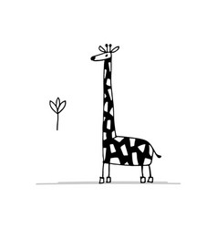giraffe funny sketch for your design vector image vector image