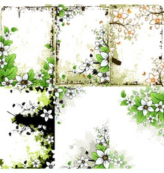 Grunge Floral Backgrounds Set vector image vector image