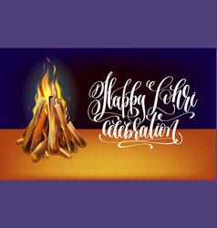 happy lohri hand lettering celebration design with vector image