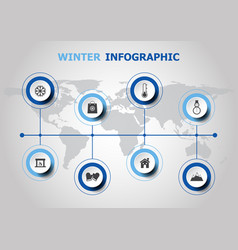 Infographic design with winter icons vector