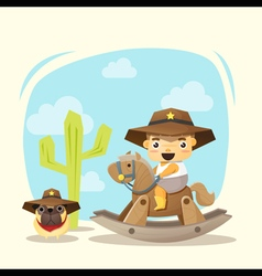 Little cowboy and friend vector