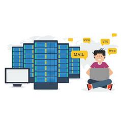 long banner - web hosting administration vector image vector image
