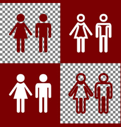 Male and female sign bordo and white vector