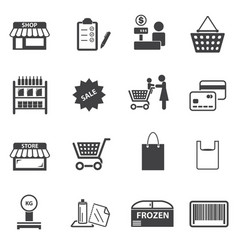 Market and shopping mall icons set vector