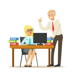 mature chief giving instructions to his secretary vector image vector image
