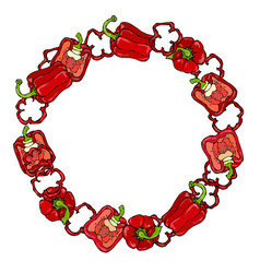 Red bell peper wreath half of sweet paprika and vector