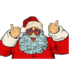 santa claus in fancy glasses isolated on white vector image vector image