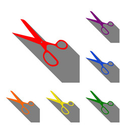 Scissors sign set of red orange vector