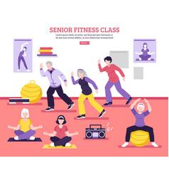 Senior fitness class flat poster vector