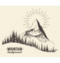 Sketch mountains fir forest sunset drawn vector image vector image