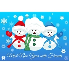 Snowmen friends greet new year vector image