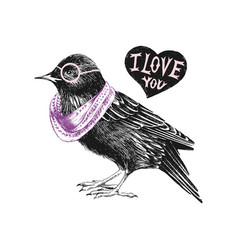 Valentines day card with starling and heart vector
