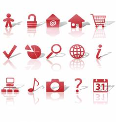 web red icons set vector image vector image
