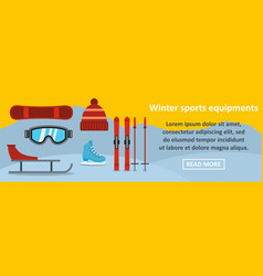 winter sports equipments banner horizontal concept vector image vector image