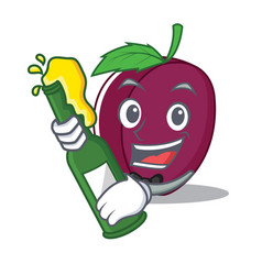 with beer plum mascot cartoon style vector image