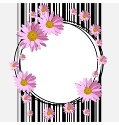 Round frame with daisies vector