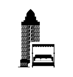Bed hotel building silhouette design vector