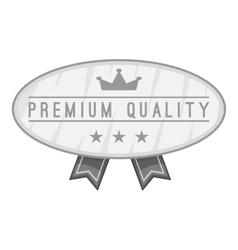 Label premium quality icon gray monochrome style vector image