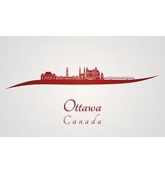Ottawa V2 skyline in red vector image