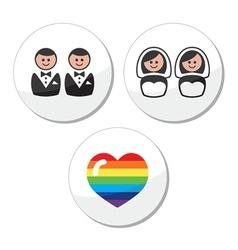 Gay lesbian wedding icons set vector image