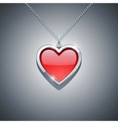 heart on chain jewellery vector image