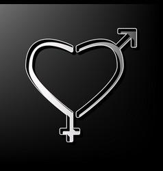 Gender signs in heart shape  gray 3d vector