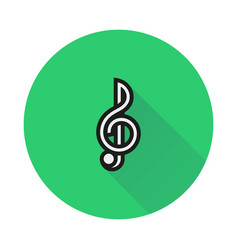 Treble clef icon on round background vector
