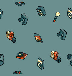 dj color outline isometric pattern vector image