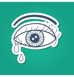 Crying eye with tears vector