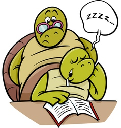Sleeping turtle on lesson cartoon vector