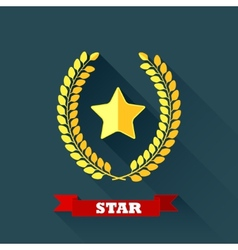 With laurel wreath and star in flat design with vector