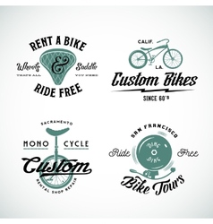 Set of retro bicycle custom and rental vector