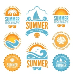 Blue and orange summer holidays labels vector