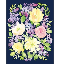 Vintage floral background printing watercolor vector