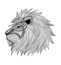 Zentangle stylized leon face hand drawn doodle vector