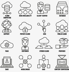 Set of linear cloud computing icons - part 1 vector