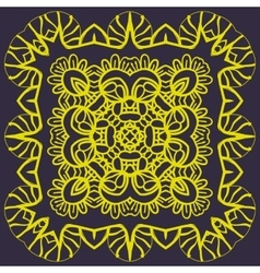 Stylized mandala of yellow color over dark vector