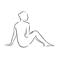 Abstract drawing of a nude lady vector