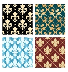 Royal lily patterns vector