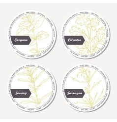 Set of stickers for package design with oregano vector