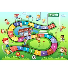 Boardgame template with sport theme vector