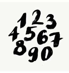 Black brush painted numbers vector