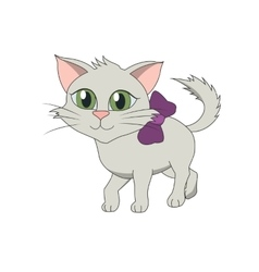Cat with a lilac bow vector