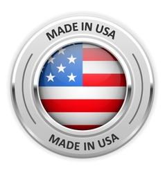 Silver medal made in usa with flag vector