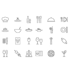 Restaurant food black icons set vector