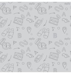 Navigation hand drawn doodles seamless pattern vector image
