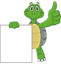Turtle cartoon with blank sign vector