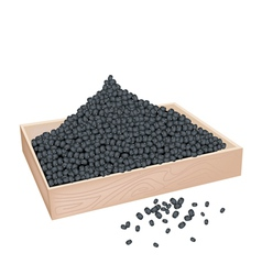 A lot of black beans in wooden container vector