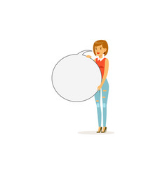 beautiful woman character with empty round message vector image vector image