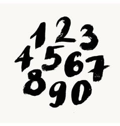 Black brush painted numbers vector